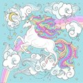A beautiful white unicorn with a long mane on a background of rainbow and clouds.