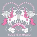 stock image of  Love is magic. A handsome, cute, cartoon white unicorn on a gray background. Vector