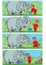 Story comic with a elephant