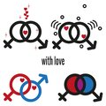 Male and female sex icons. Valentine`s day elements with heart symbols. Royalty Free Stock Photo