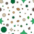 Green, brown vector seamless layout with circles, stars