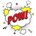 Comic lettering speech bubble for emotion with text POW