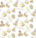Happy Easter set seamless pattern on white background with church, branch, bunny, cake and egg
