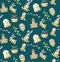 Happy Easter set seamless pattern on green background with church, branch, bunny, cake and eggs