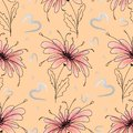 Pink flower with abstract white hearts on a light brown background Royalty Free Stock Photo