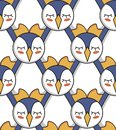 Seamless pattern with penguins for background