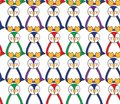stock image of  Seamless pattern with multicolored penguins, which sit in a row and sleep