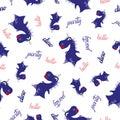 Seamless dinosaur pattern. Animal white background with dark blue dino. Vector illustration.