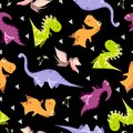 Seamless dinosaur pattern. Animal black background with colorful dino. Vector illustration.