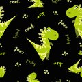 Seamless dinosaur pattern. Animal black background with green dino. Vector illustration.
