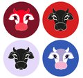 Cow flat icon on colorful background. Farm Animal. Vector of a cow head.