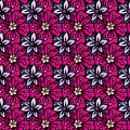 Doodle pattern red flowers and small blue painted Royalty Free Stock Photo