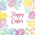 Color Easter eggs frame with plants and greeting. Hand drawn outline ink vector sketch illustration. Eggs painted with folk orname