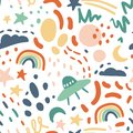 Cute seamless vector pattern with stars, rainbow, moon, clouds
