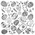 Easter sketch set. Painted eggs, rabbits, chickens, plants and basket. Hand drawn outline ink vector illustration