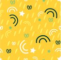 Seamless pattern on yellow Sunny background with grass, stars, curls. Design of fabrics, Wallpapers, textiles