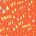 Seamless pattern with text elements, triangle, alphabet letters on orange background