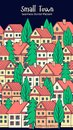 City Street Scene with colorful houses. Seamless vector pattern.