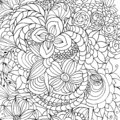 Flowers and different doodles, curls, black and white image, graphics