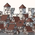 Illustration of Medieval city. Seamless vector pattern.