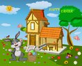 Easter greeting card. Composition with a rabbit at a country house with flowers, trees, green grass, butterflies and a basket with