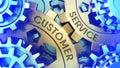Ð¡oncept Customer Service on the Gears. Gold and blue gear weel background illustration 3d illustration