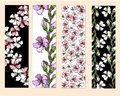 A set of floral bookmarks, flyers with pink and white flowers,