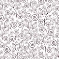 Abstract flowers seamless pattern, black and white outline hand drawing, linear illustration, vector monochrome background. Flower