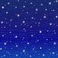 Vector winter square Christmas background of glowing snowflakes, grunge clouds on the dark blue sky. EPS 10 Royalty Free Stock Photo
