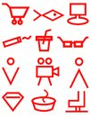 Red supermarket navigation signs on white background, icons, store, market
