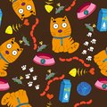 Seamless pattern containing a red kittenon a dark background.
