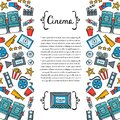 Cute decorative cover with hand drawn colored symbols of cinematography. Illustration on the theme of cinema, movie, television