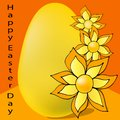 Egg yellow with flowers on orange background