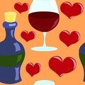 Seamless vector pattern with hearts and wine