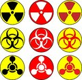 Radiation, toxic and bio hazzard icons