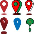 Different GPS icons and signs in red green colours.