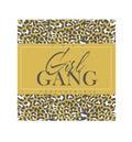 Girl gang slogan with leopard print