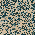 Blue and light brown branches pattern. Cracked effect. Seamless vector background. For fabric, textile, design, advertising banner