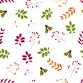 Flat vector. . Seamless pattern: leaves, berries and insects on a white background