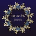 wedding cards Flower frame of roses - greeting card. navy blue and gold concept. Vector illustration.
