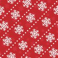 Vector seamless Christmas pattern; white snowflakes on red background. Royalty Free Stock Photo