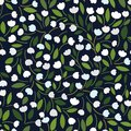 Beautiful Floral pattern with white tulips / lilies of the valley, leaves on a dark background.