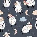 Seamless pattern illustration sleeping little sheep, cloud, moon and stars on the dark blue background