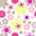 Vector seamless floral pattern flowers on white background, spring-summer background in pastel colors. Royalty Free Stock Photo