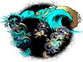 Design of asian dragon and sea wave. Royalty Free Stock Photo
