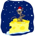 Confused funny cartoon brown rat in a red cap climbs out of a piece of cheese