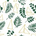 Trendy exotic leaves and gold elements. Seamless pattern.