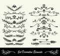 Many different hand drawn ink ornament floral dividers in black on white