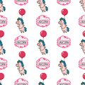 Seamless pattern with unicorn, clouds, balloons and lettering on white background.