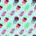 Vector seamless pattern, cute hand drawn ice creams in retro style on dotted background. Childish flat bright vector illustration